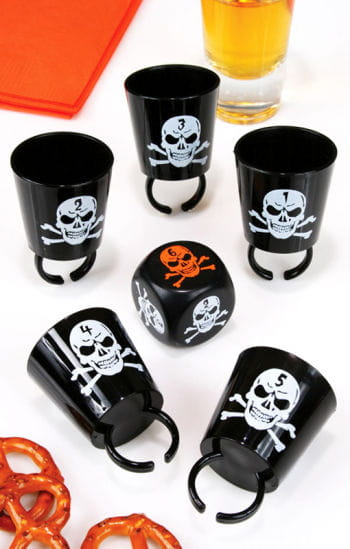 Skull shot glasses with dice