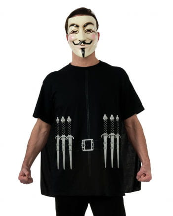 V For Vendetta T-shirt Cape & Mask XL