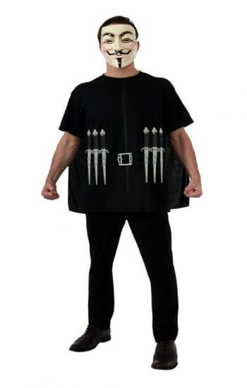 V For Vendetta T-Shirt mit Cape & Maske XL