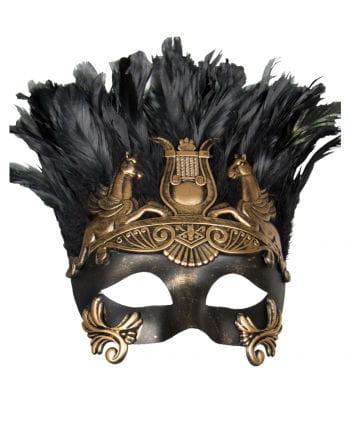Antike Augenmaske mit Federn schwarz/gold
