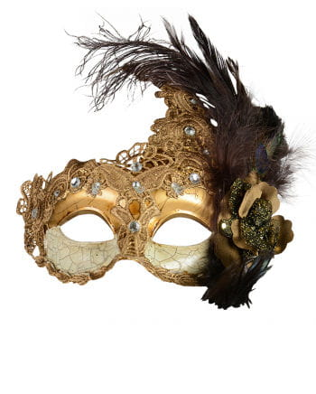 Venetian Mask with feathers gold / brown