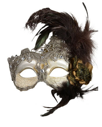 Venetian Mask with Feathers silver / brown