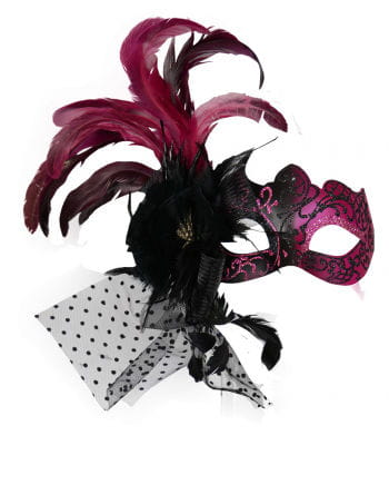 Venetian eye mask with feathers Pink