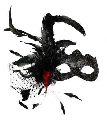 Venezianische Augenmaske mit Federn schwarz