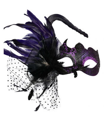 purple Venetian eye mask with feathers
