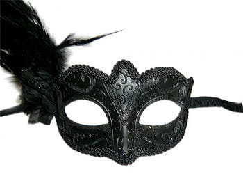 Venetian Feather Mask Black