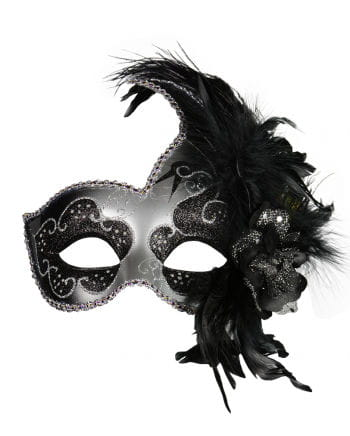 Venetian Mask with Feathers black / silver