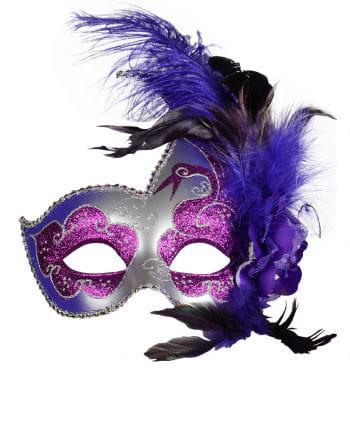 Venezianische Maske mit Federn violett/silber
