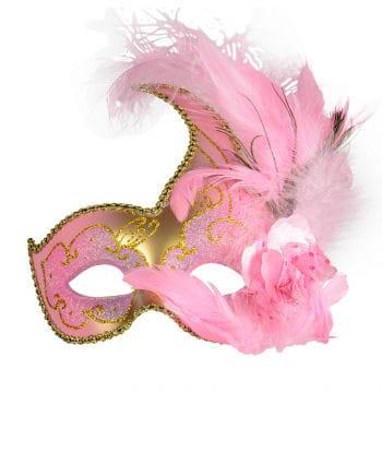 Venezianische Maske mit Federn pink/gold