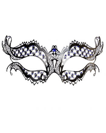 Metal eye mask with blue rhinestones