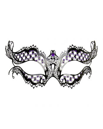 Metall-Augenmaske mit violetten Strasssteinen