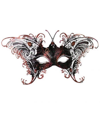 Venizianische Butterfly Mask black-red