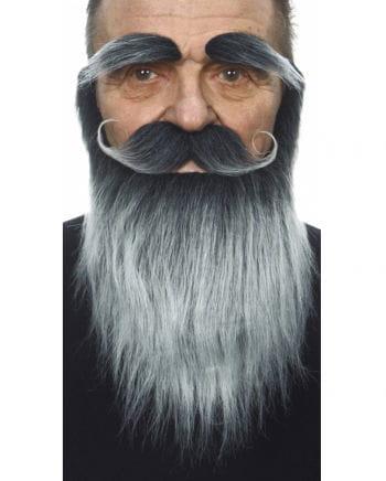 Vollbart mit Schnauzer und Augenbrauen grau-schwarz meliert