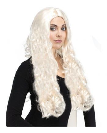 Platinum Blonde wig with curls longhair