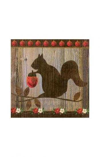 Weihnachtsservietten mit Eichhörnchen Motiv