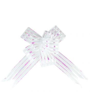 Weiße Ziehschleifen Hologramm Effekt 5 St.