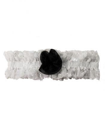 Strumpfband weiß mit schwarzer Rose