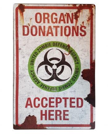 Zombie Organ Spende Metallschild