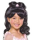Children wig black princess
