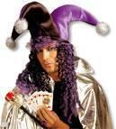 Joker bobble hat with hair purple