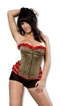 Leopard corset with red ruffles L