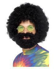 70er Jahre Afro Perücke mit Bart