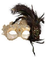 Venezianische Maske mit Federn beige/braun