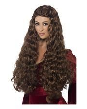Medieval Long hair wig brown