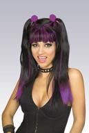 Cheerleader Wig Black/Purple