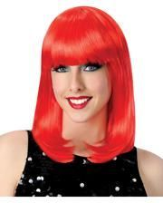 Showgirl wig with fringe red