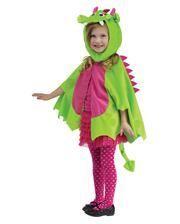 Drachen-Umhang mit Mütze grün-pink