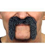 Adhesive biker mustache mottled black-gray