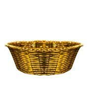 Golden Metal Basket with Easter Grass