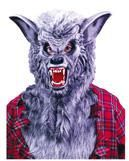 Grey werewolf mask with teeth