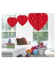 Honeycomb heart red 30cm