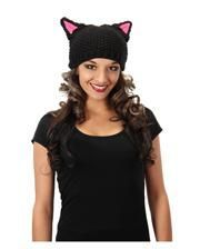 Wool hat with cat ears