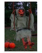Pumpkin Ghost on the swing