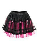 Tulle mini skirt with black-pink roses