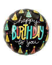Folienballon Happy Birthday Partyhütchen