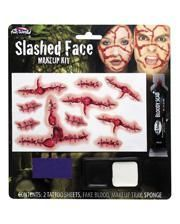 Slashed Face Make-up Set mit Tattoos