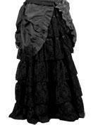 Shirred bottom long taffeta skirt