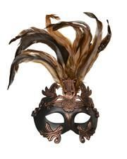 bronze Antique eye mask with feathers