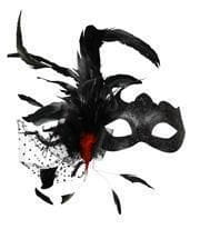 Venetian eye mask with feathers black