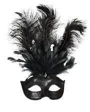 Venetian eye mask with black feathers