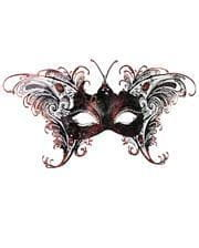 Venizianische Schmetterlingsmaske Schwarz-Rot