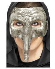 Venezianische Schnabelmaske silber