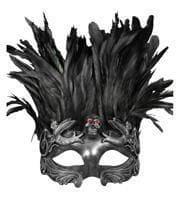 Venezianische Totenkopfmaske mit Federn silber/schwarz