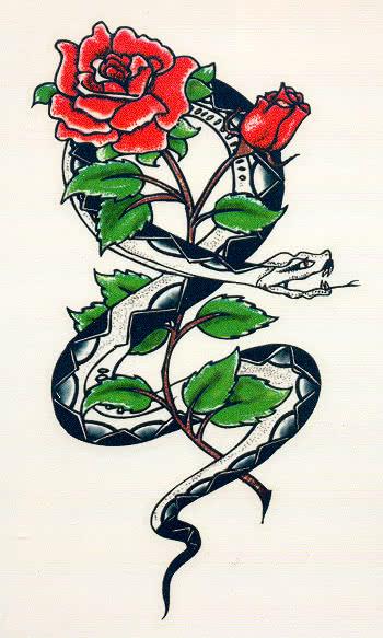 tattoo schlange und rose aufklebe tattoo f r karneval. Black Bedroom Furniture Sets. Home Design Ideas