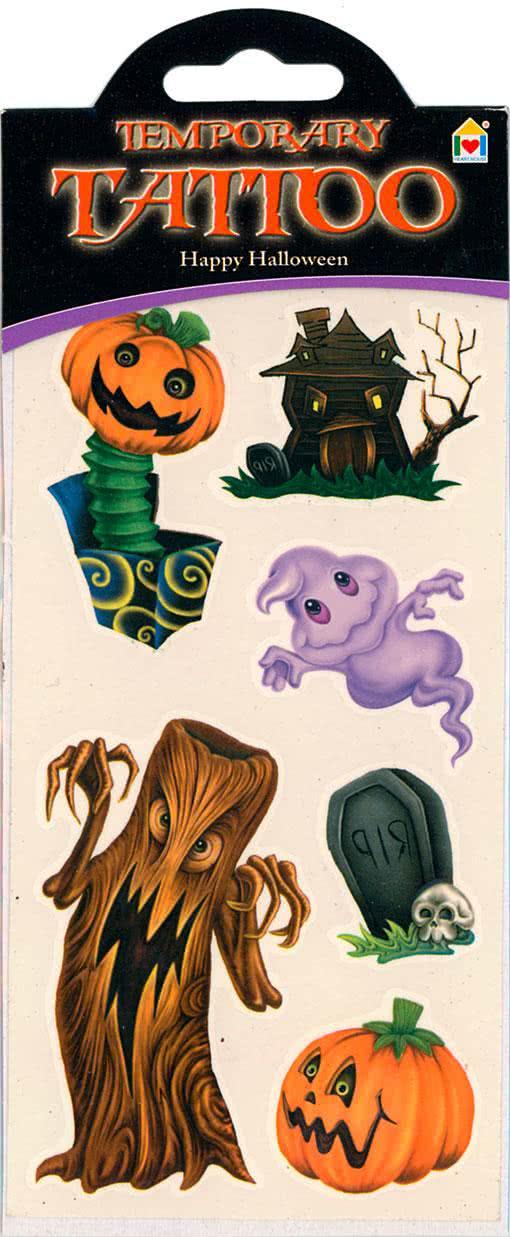 Happy halloween tattoo c klebetatto for children with for Halloween temporary tattoos