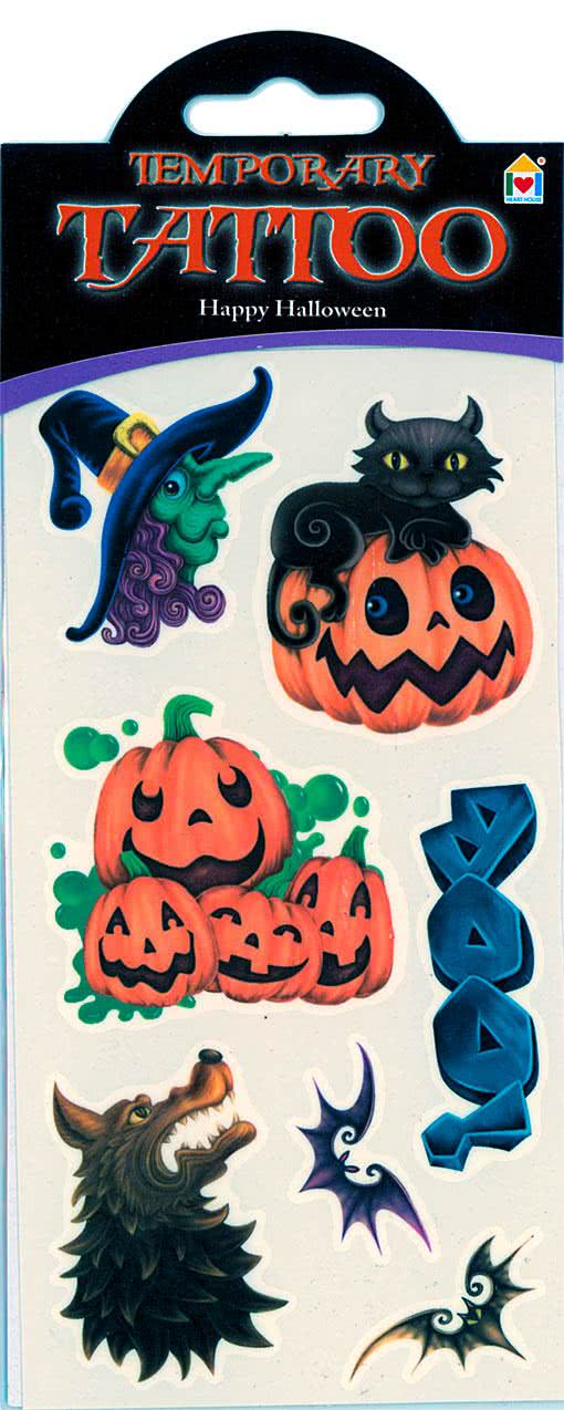 Happy halloween tattoo f now order your tattoo with for Halloween temporary tattoos